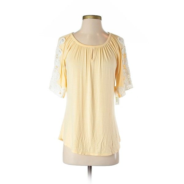 Nurture  Short Sleeve Top ($14) ❤ liked on Polyvore featuring tops, yellow, short sleeve tops, yellow top, rayon tops, beige top and viscose tops