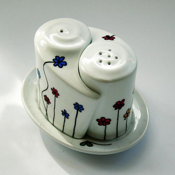 Hand painted Salt and Pepper Shakers on tiny plate by atelierChloe