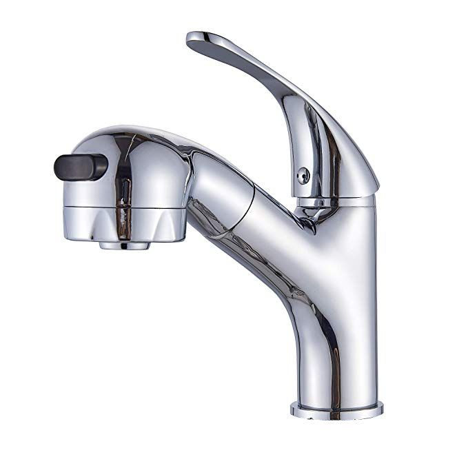 Rozin Chrome Polished Pull Out Sprayer Bathroom Sink Faucet One