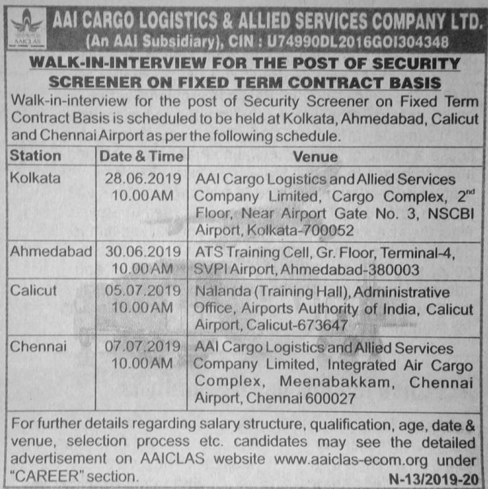 Aai Cargo Logistics And Allied Services Company Chennai