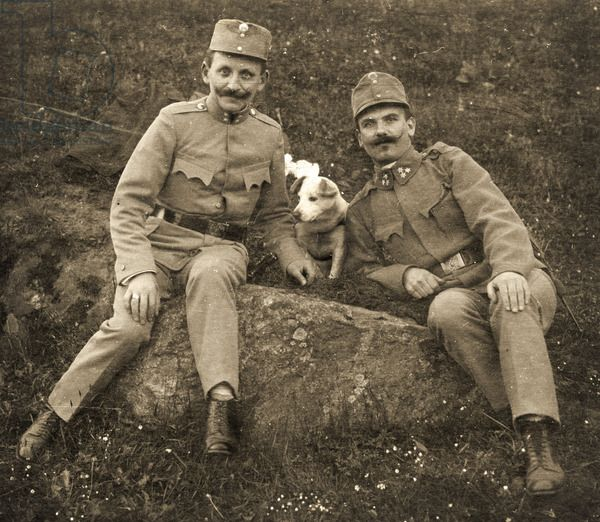 Austrian soldiers with a dog, 1914-18