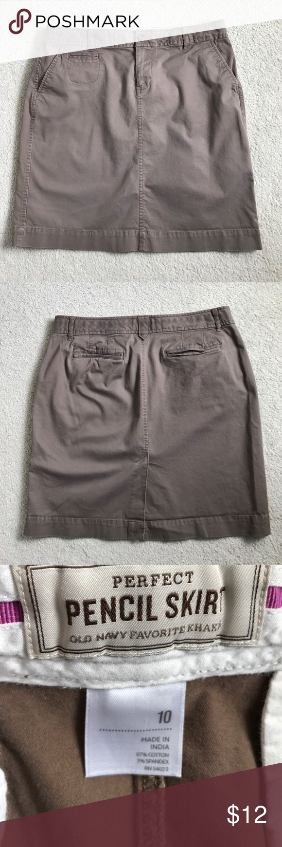 Old Navy pencil skirt. Size 10 Light brown pencil skirt in a chino khaki fabric. Side pockets and back pockets. Hits just above the knee on a woman about 5'5. Old Navy Skirts Pencil