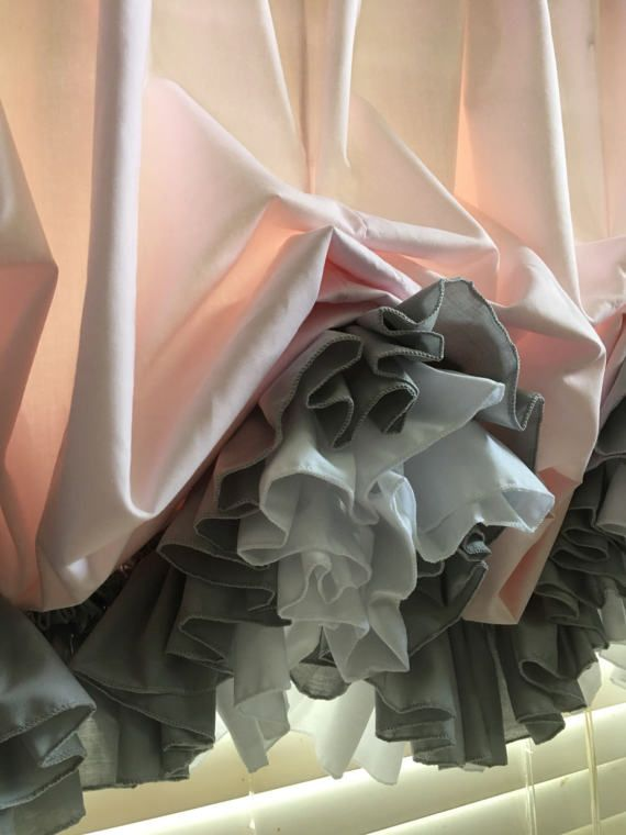 Blush Pink Balloon Curtain with Gray and White Double Ruffles