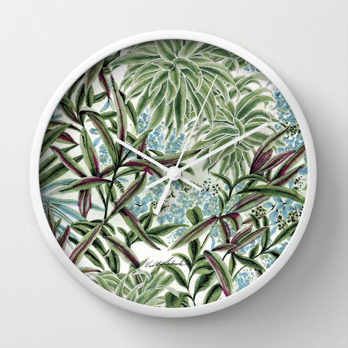 Canopy Wall Clock on Society6, #new #tropical #rain forest #Hawaiian #leaves #flowers #art on wall #clock for #home #office #kitchen #apartment #fashion #decor by Vikki Salmela. On #SALE today.