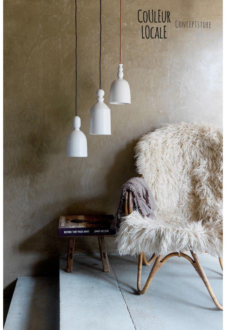 white glossy ceramic pendant lamp www.couleurlocale.eu