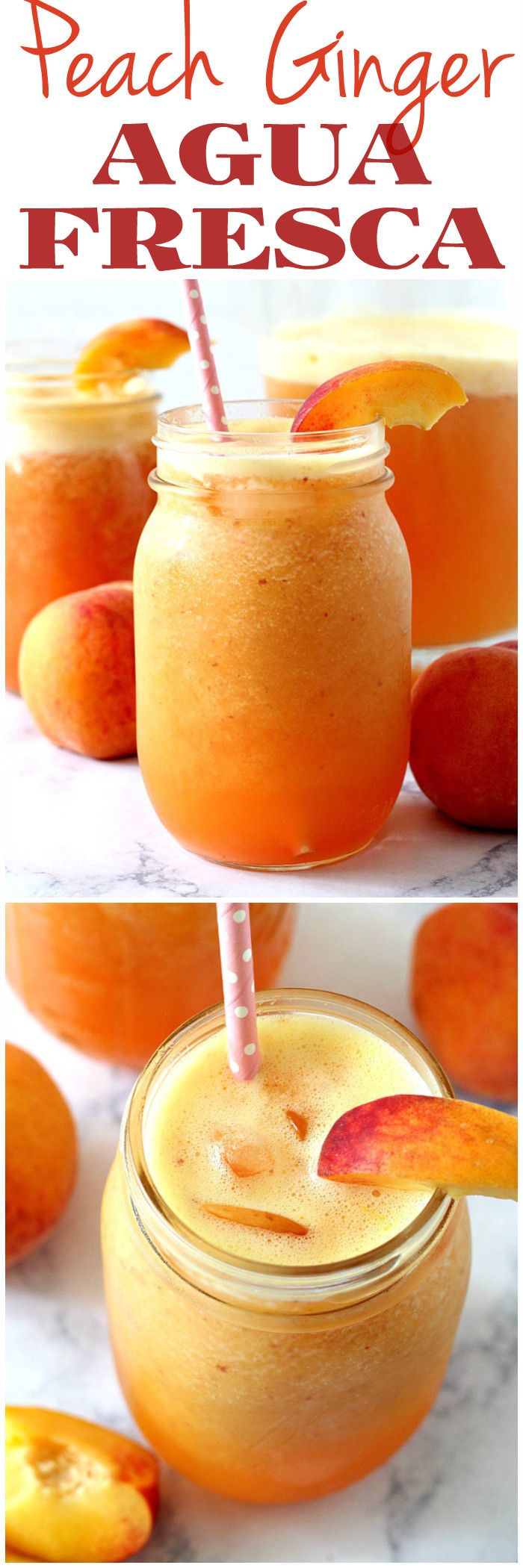 Peach Ginger Agua Fresca Recipe - refreshing fruit water made with peaches, ginger and honey. Good for you and hydrating during the hot summer days.