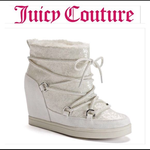 SALEJuicy Couture White Glitter Booties 6.5 Ooh La Lawhite glitter ankle booties with 4 inch hidden wedge heel by Juicy Couture. Micro suede upper - faux fur lining - lace up closure - padded footbed. NEW Display Shoes Size 6.5 Juicy Couture Shoes Ankle Boots & Booties
