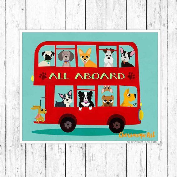 Мопс французский Бульдог искусства стены Художественная печать собаки искусства стены подарок боксер Бульдог собака любовник Декор домашнее животное собака печати иллюстрации Бостон терьер искусства стены