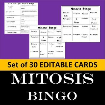 Save time and increase student interest with BINGO. Review related Vocabulary Words with MITOSIS BINGO.This lesson includes: 30 Different Bingo Cards and Mitosis Call Cards. Vocabulary Bingo Cards address: Somatic Cells(body cells), Interphase, Mitosis, Prophase, Metaphase, Anaphase, Telophase, Cytokinesis, Replicate, Centromere, Chromatin, G1 Phase, S Phase, and G2 Phase.