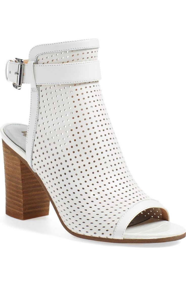These open toe booties from Sam Edelman are white hot! The perforated  leather cuff is