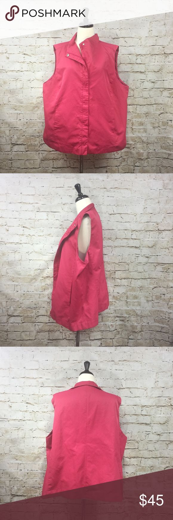 """Eileen Fisher Pink Vest with Zip Closure- Size 2X Eileen Fisher Pink Vest with Zip Closure- Size 2X. Beautiful bright color. Zip closure and one snap button by collar. Fully lined. Two hidden pockets. High collar. Dry clean only. Material: 52% cotton, 48% nylon; lining: 64% cotton, 36% nylon.  Approximate measurements (measured flat): bust: 25.5"""", length: 26.5"""". Excellent used condition. No signs of wear. Eileen Fisher Jackets & Coats Vests"""