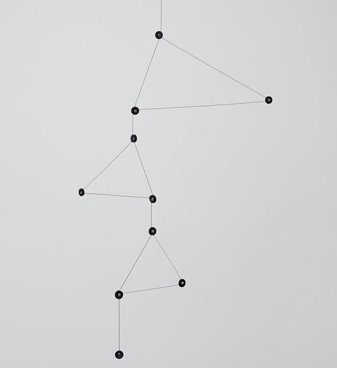 'Constellation' by DRILL Design, three V-shapes attached to a single line of thread. See more here - http://the189.com/sculpture/tempo-mobile-series-by-mother-tool