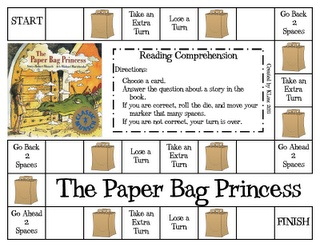 "Cute game for 1st graders, based on reading comprehension skills of ""The Paper Bag Princess."""