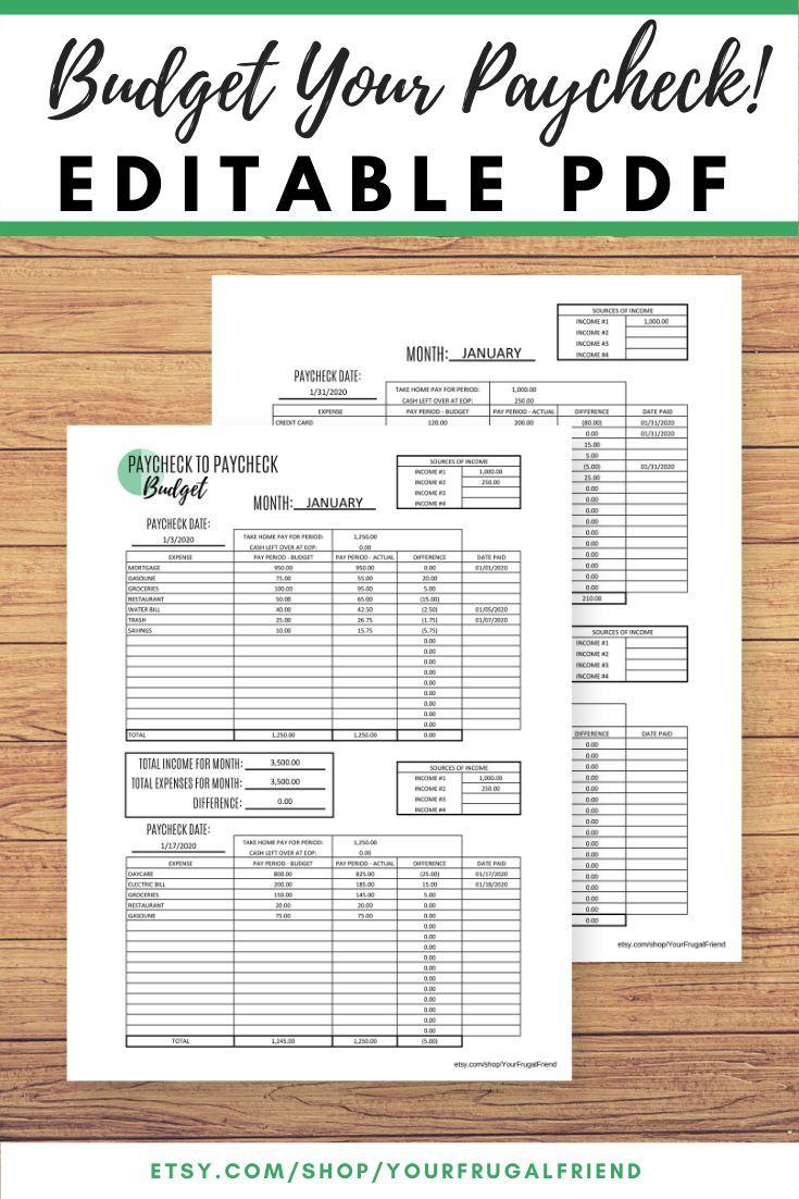 Paycheck To Paycheck Budget Template Zero Based Budget Etsy Free Budget Printables Budget Printables Budgeting