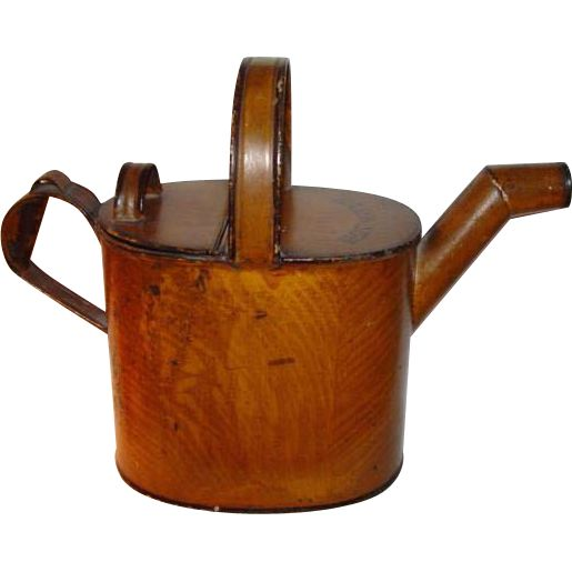 Antique English Tole Ware Watering Can ~ Hot Water  found at www.rubylane.com @rubylanecom