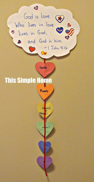 Teaching about God's Love. Will make one per student, and add a heart each week they say their verse.