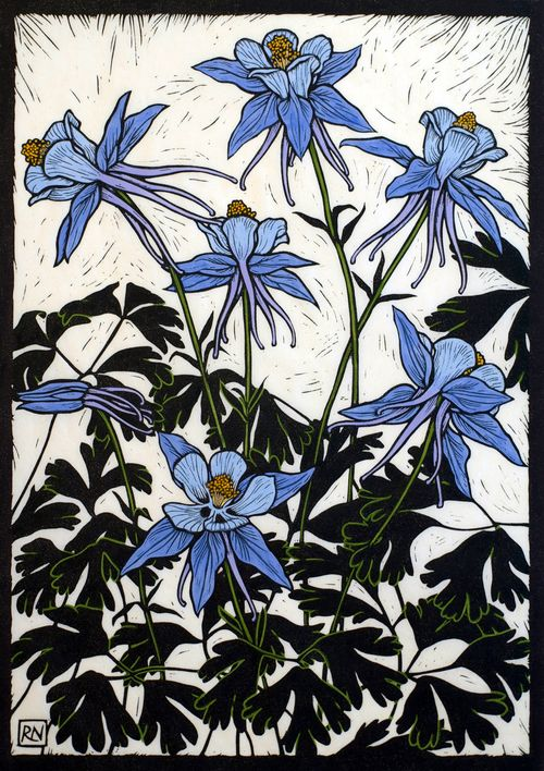 Rachel Newling. Columbines. Hand coloured linocut on handmade Japanese paper.