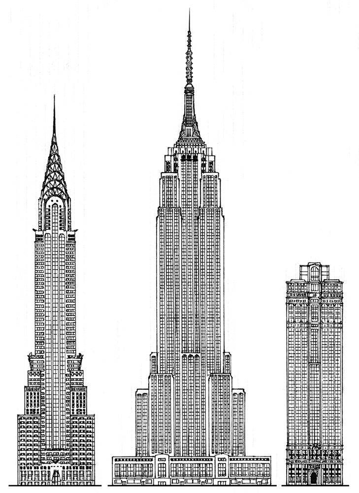New York hi-rises simplified elevation sketch: The Chrysler Building (1929, arch. Wilam van Alen), The Empire State Building. (1931, arch. Richmond H. Shreve, William F. Lamb & Arthur L. Harmon), The Equitable Building (1915, arch. Ernest R. Graham); Drawn up by Piotr Kilanowski (2001).