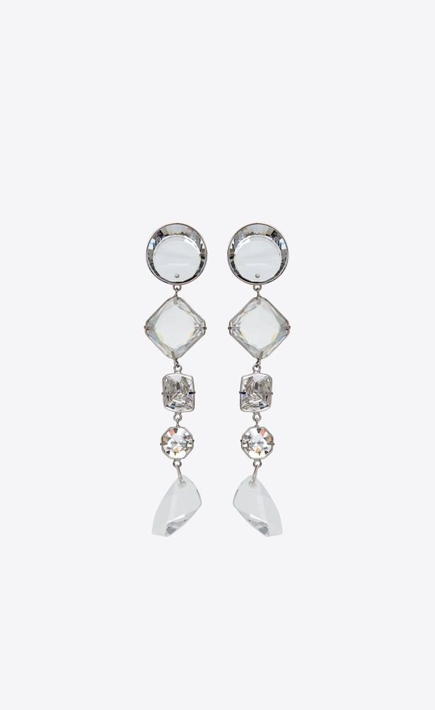 812b0c2838df SAINT LAURENT Earrings Woman smoking long chain earrings in silver-toned  brass and white crystals a V4