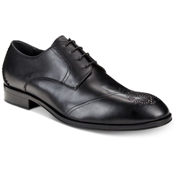 Roberto Cavalli Men's Stud Crest Wingtip Oxfords ($585) ❤ liked on Polyvore featuring men's fashion, men's shoes, men's oxfords, black, mens wingtip shoes, mens shoes, mens studded shoes and roberto cavalli mens shoes