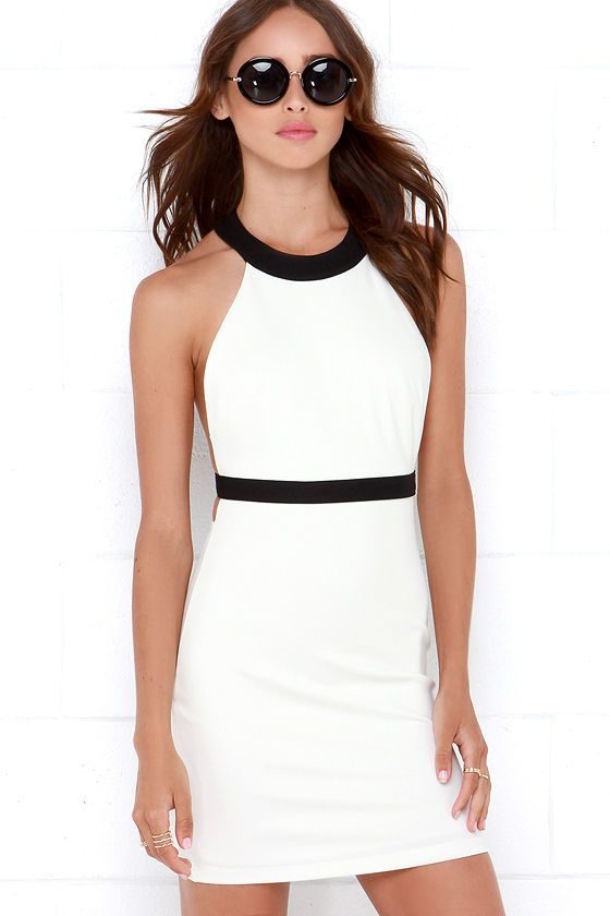 Dangerously In Love Black and Ivory Bodycon Dress at Lulus.com!