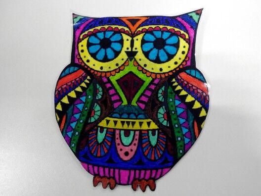 #mandala de #buho #multicolor #amuleto de la #suerte
