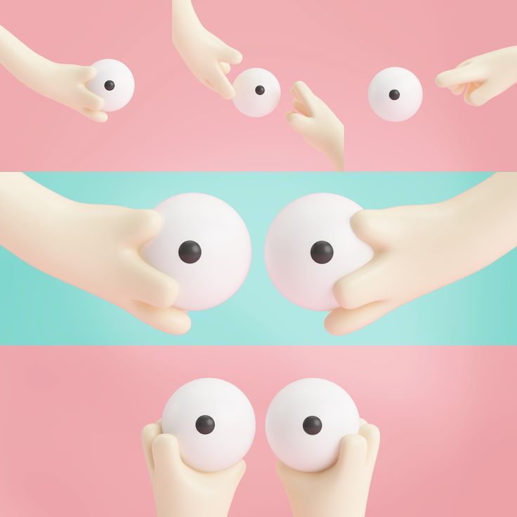 Octubre rosa, character, 3D, illustration, hand, eye, cancer.
