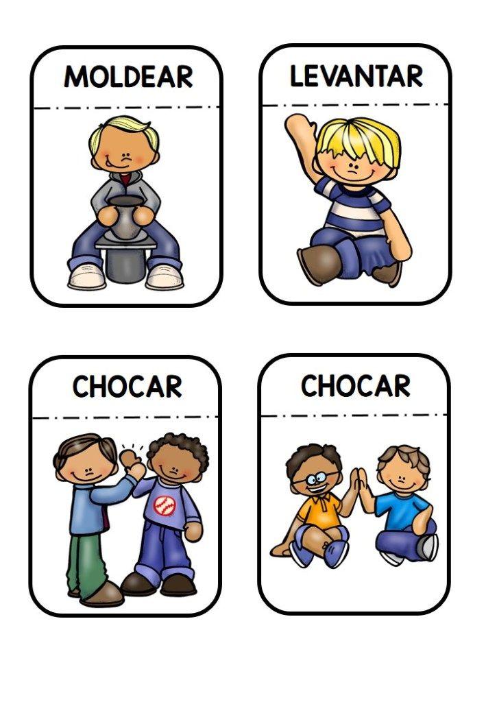 100 Tarjetas De Verbos Para Trabajar En Clase Orientacion Andujar Verbos Actividades Para Preescolar Dibujo De Escuela