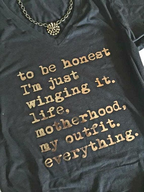 Winging it | Grey, Just Winging It Mom Shirt | Mom Life Shirt| Funny Shirt| Funny Quote | TShirt | Just Wing it| Women's Clothing