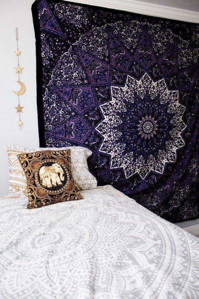 Image of Deep purple mandala tapestry