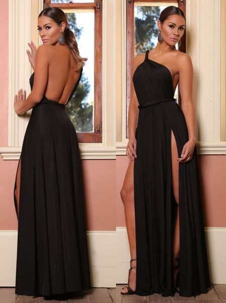 Shinning One Shoulder Backless Long Party Dress