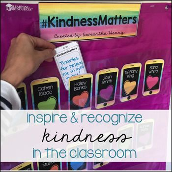"""This classroom activity is a great way to inspire and recognize kindness in the classroom. Students each have their own phone displayed in the classroom and their peers will """"text"""" a thank you card recognizing a kindness they've been shown. This is an easy way to incorporate more kindness in your every day classroom without taking up too much time."""