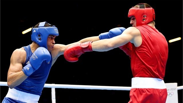 Anthony Ogogo of Great Britain vs Yevgen Khytrov of Ukraine, the men's Middle (75kg) Boxing