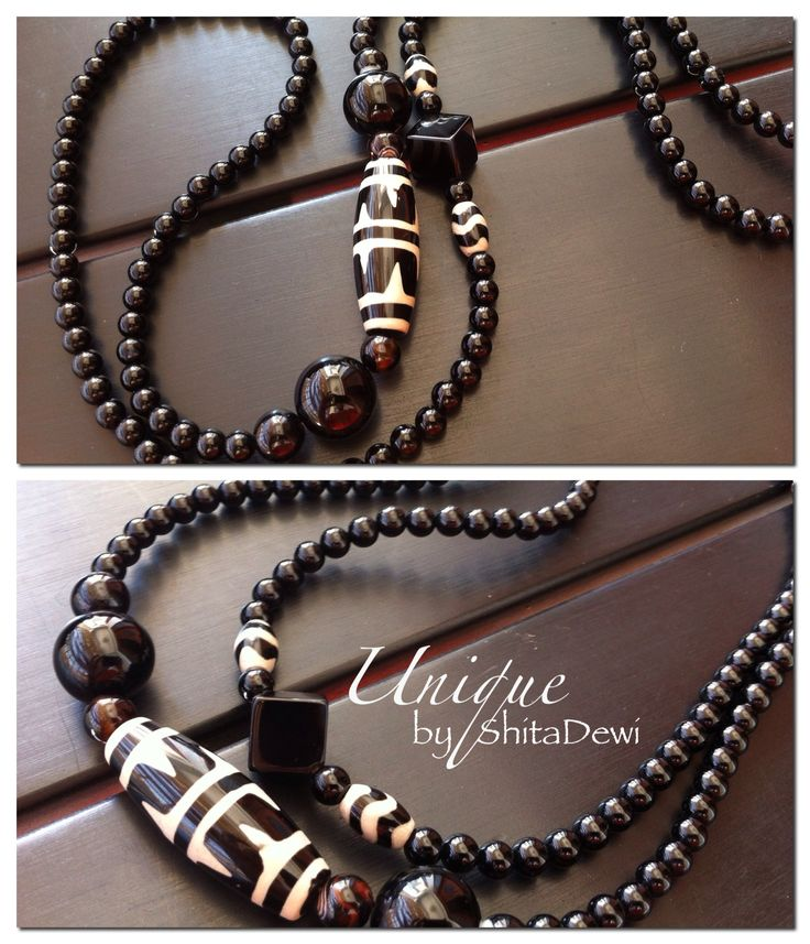 Handmade from Black Onyx, Chinese Dzi Beads, 85cm length, code #LG-01   Good for a protection charm     IDR 217.000 include a Batik jewelry box  Custom order contact : uniquely.handmade168@gmail.com