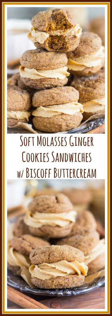Chewy, soft, melt-in-your-mouth molasses ginger cookie sandwiches filled with fluffy, cinnamony biscoff buttercream frosting!