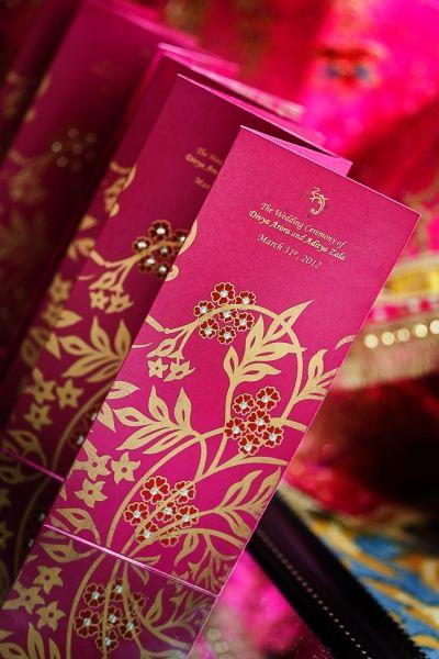 indian-wedding-pink-and-gold-programs #indianwedding