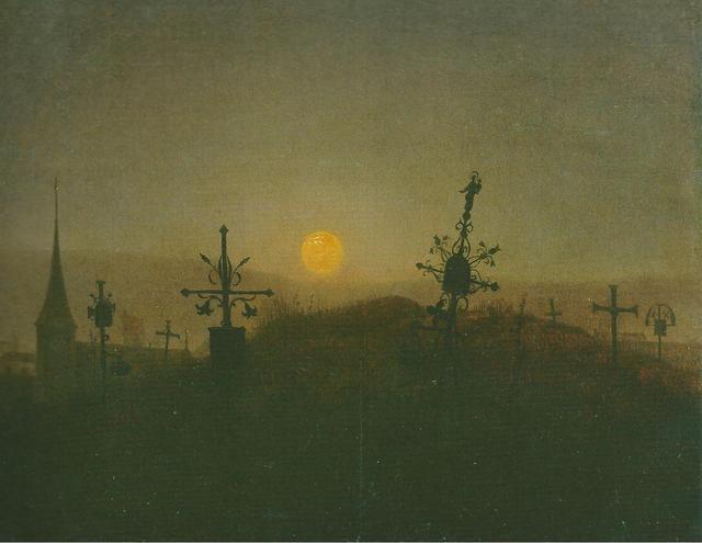 Carl Gustav Carus, Cemetery in the moonlight, c.1822