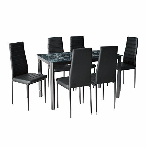 A perfect addition to your casual dining space, this glass top dining set will add elegance to your home. Color: Faux Marble glass top,Black powder coated frame,Black PVC cover Metal legs and frame with powder coated color to increase their life spans