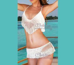 .♥❤ Thank you for stopping by this sexy adorable bikini set! ❤♥ . Very Hot TREND!!! Crochet bikini fringe top and bottom set sexy cream beige