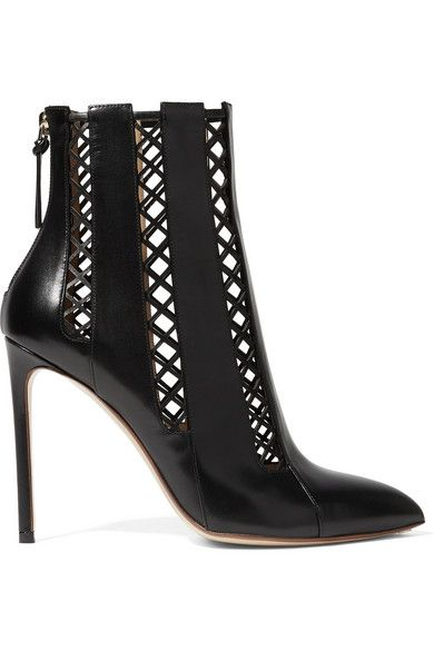 FRANCESCO RUSSO Lattice-Paneled Leather Ankle Boots. #francescorusso #shoes #boots