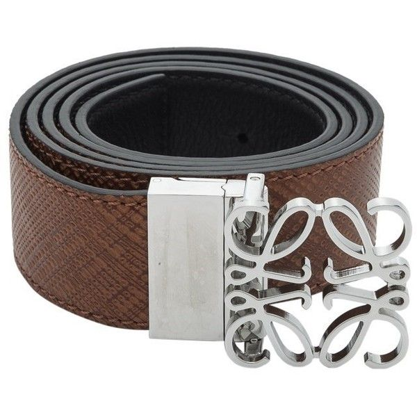 Loewe Anagram Reversible Belt ($460) ❤ liked on Polyvore featuring men's fashion, men's accessories, men's belts, brown, mens brown belt and men's reversible belt