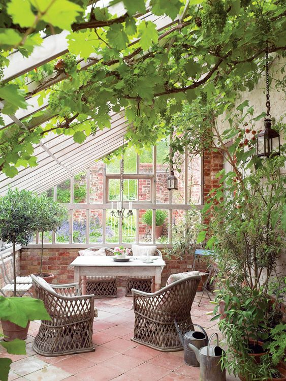 Love the grape vines; makes for nice shade. (1) From: Dominique Décoratrice (2) Follow On Pinterest > Dominique Décoratrice