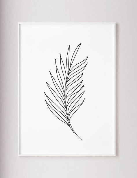 Palm #Leaf #Print #Plants #line #art #Abstract  – Wand Diy
