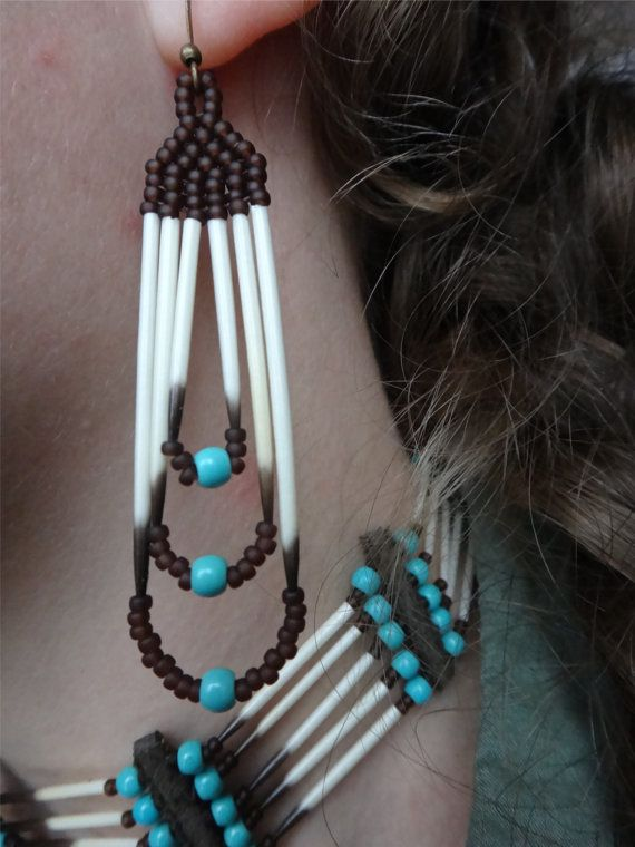 Porcupine quills earrings. Native american by CreationSecondeNatur