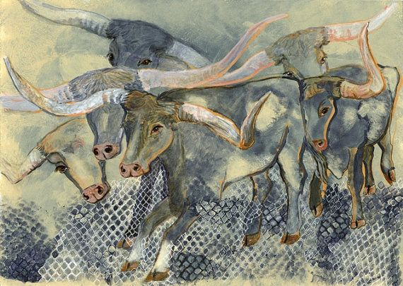 Texas Longhorn Cattle Drive by leicalady on Etsy, $95.00