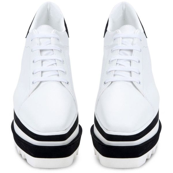 Stella McCartney White Sneak-Elyse Sneaker (39.925 RUB) ❤ liked on Polyvore featuring shoes, sneakers, white shoes, stella mccartney, white trainers, stella mccartney sneakers and rubber sneakers