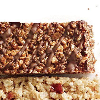 Double-Chocolate Chewy Crispy Bars | Bittersweet chocolate and cocoa make Double-Chocolate Chewy Crispy Bars extra good.