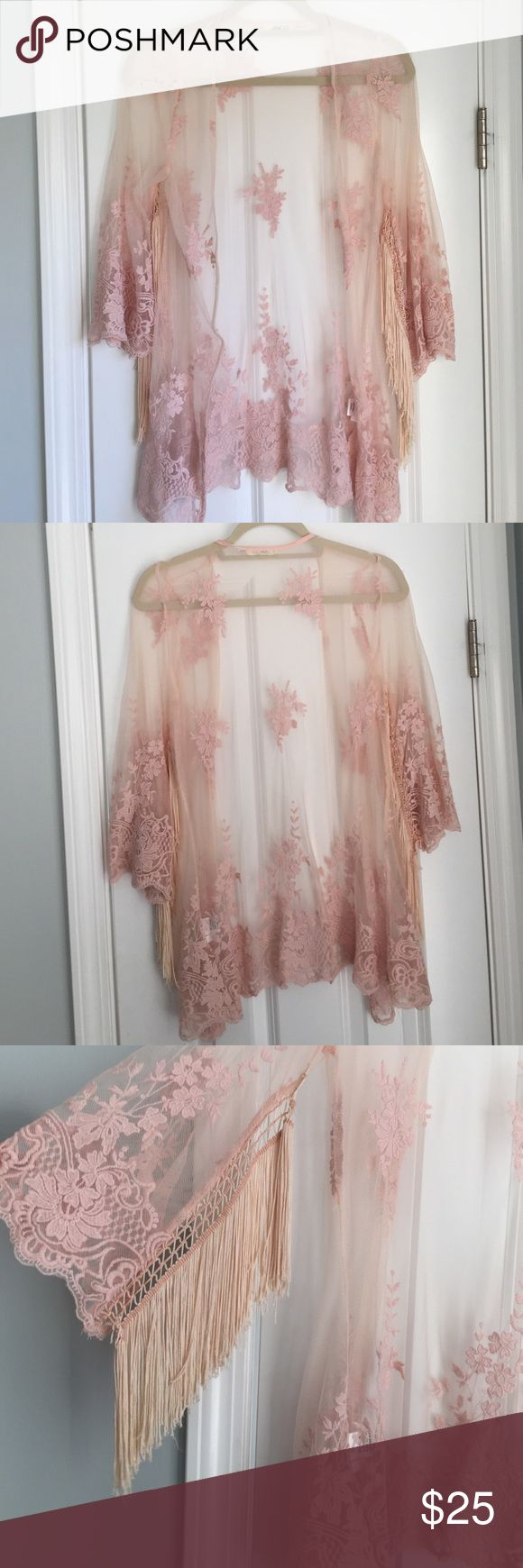 Pink Lace Kimono Beautiful pink lace piece with fringe sleeves the hanger  Tops Blouses