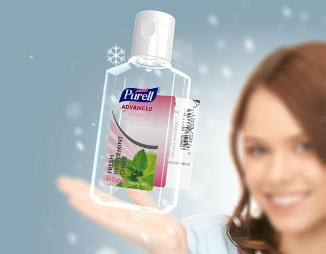 Purell Hand Sanitizer label adds the see-through effect with visual pop from metallics.  Plus 2-sided printing on the back booklet label.  View the interactive model at cclspecialty.com/purell_ecl/index.html