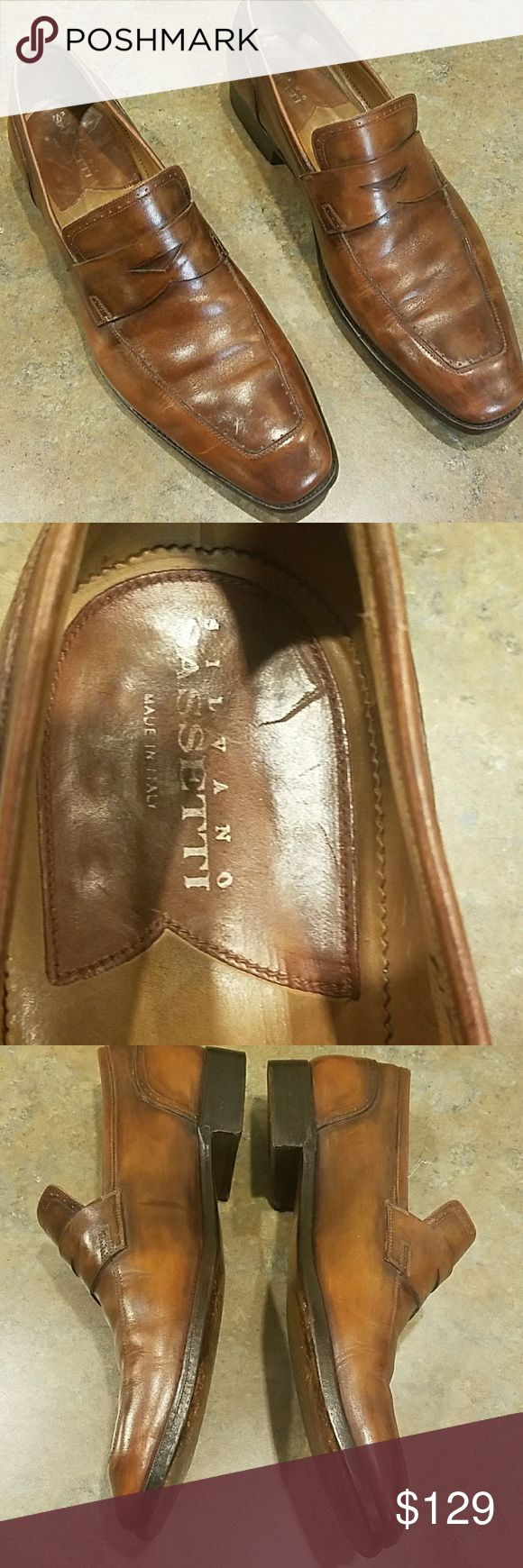 Men SILVANTO SASSETTI Leather Loafers-Slip-ons Good condition. Minor scratch on right side of right shoe.Not a cut or rip just a scratch beneath the true color.  Priced accordingly. MSRP for this shoe $385.  Still a lot of life left in these. Silvano Sassetti Shoes Loafers & Slip-Ons